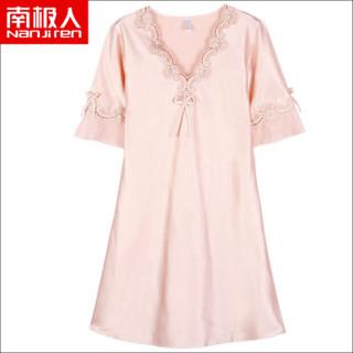南极人(Nanjiren)睡裙 女仿丝公主甜美短袖睡衣女士韩版薄款家居服性感睡衣N676X20042-8 香槟色L