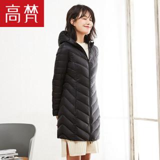 GOLDFARM 高梵女士新款韩版修身轻薄女中长款连帽简约羽绒外套羽绒服 G1180075