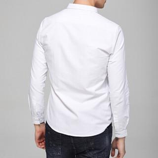 太子龙(TEDELON)长袖衬衫男纯色棉修身牛津纺时尚休闲翻领免烫百搭衬衣灰色XL