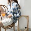 JOY OF JOY 京东女装韩国大格子格纹文艺宽松棉麻长袖衬衣衬衫休闲女 JWCC178244 蓝色 均码
