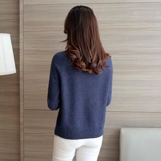 朗悦女装 2018秋季新款韩版套头针织衫女学生打底衫圆领毛衣 LWYC188146 牛仔蓝 均码