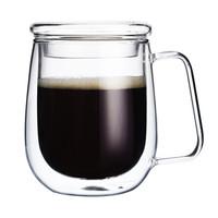 明尚德带杯盖双层咖啡杯透明玻璃杯男女办公水杯835T