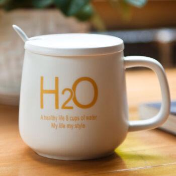 瓷魂 创意陶瓷杯子情侣水杯咖啡杯带盖带勺马克杯牛奶杯 H2O白色