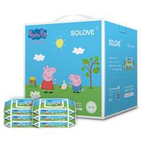 solove 小猪佩奇 儿童手口护理巾80抽6包 婴儿手口湿巾6包装