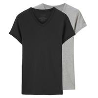 佐丹奴打底衫男两件装鸡心v领纯棉纯色打底t恤男体恤衫 01242013
