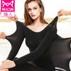 猫人纯色面膜衣套装女超薄性感打底衫女士基础修身美体打底 黑色 均码