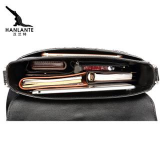 汉兰特(HANLANTE)鳄鱼皮单肩包男斜跨包休闲男士皮包高档商务竖款包 H0112-90179