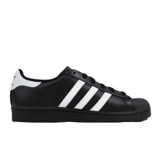 Adidas 三叶草 B27140 男女贝壳头经典鞋  (黑/白/金、42.5)