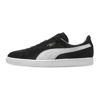 彪马PUMA 男女同款 休闲鞋 板鞋 SUEDE CLASSIC+ 反毛皮 运动鞋 352634 03黑色42码