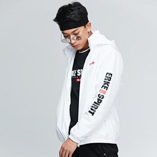 鸿星尔克 男运动风衣休闲防风外套男子休闲运动男外套 51218308029 正白 XL