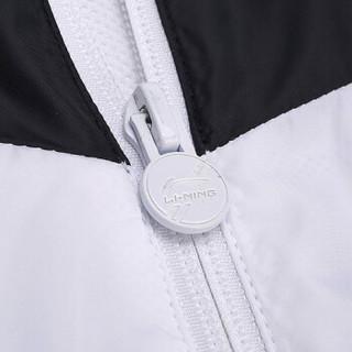 李宁 LI-NING AFDN187-4 训练系列男子运动风衣 标准黑/标准白  L码