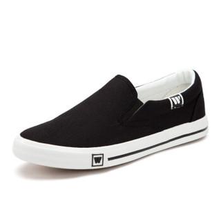 WARRIOR 回力 男女 低帮休闲鞋 帆布 素面 老北京布鞋 WXY-903T 黑色、41