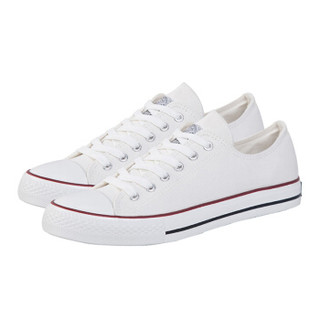 WARRIOR 回力 男女 低帮休闲鞋 帆布 车缝线 板鞋 WXY-391 白色、35
