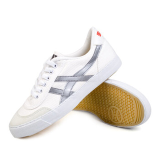 回力/Warrior 经典龙翔系列男女鞋透气帆布鞋跑鞋运动鞋男女复古网球鞋WK-1 白色 35