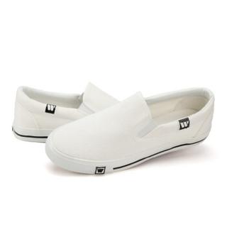 回力/warrior 经典小白鞋一脚蹬帆布鞋男女低帮情侣鞋休闲鞋学生平底板鞋开车鞋 WXY-903T 白色 43
