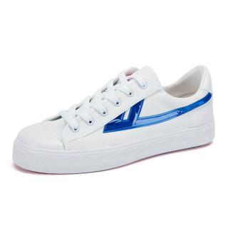回力/Warrior 回力帆布鞋经典款男女帆布鞋小白鞋炫酷反光标回力官方正品帆布鞋 WXY-A237T 闪耀白蓝 40
