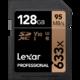 雷克沙(Lexar) SD卡128G 633X 95M/S SDXC U3摄像单反微单相机内存卡 128GB 189元