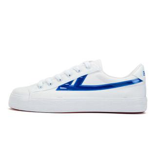 回力/Warrior 回力帆布鞋经典款男女帆布鞋小白鞋炫酷反光标回力官方正品帆布鞋 WXY-A237T 闪耀白蓝 35