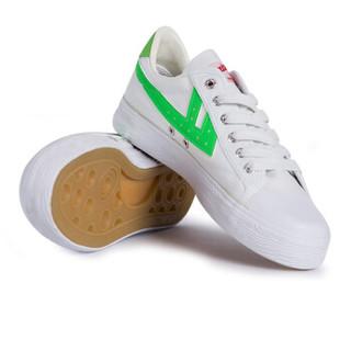 回力/Warrior 回力经典款WB-1闪耀升级经典帆布鞋男女鞋韩版潮鞋休闲板鞋学生布鞋荧光标 WB-7 绿白 36