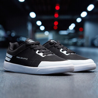 ERKE 鸿星尔克 51118301101 男士滑板鞋 (正黑/正白、41)