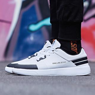 ERKE 鸿星尔克 51118301101 男士滑板鞋 (正白/正黑、42)