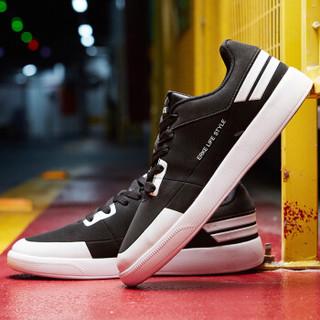 ERKE 鸿星尔克 51118301101 男士滑板鞋 (正黑/正白、43)