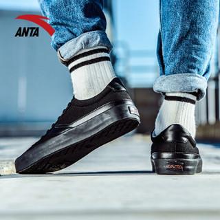 ANTA 安踏 91748960 男士帆布鞋 (黑/浅米白、41)