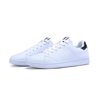 特步情侣板鞋休闲舒适滑板鞋小白鞋983219319266白黑41码