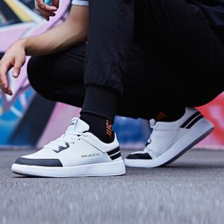 ERKE 鸿星尔克 51118301101 男士滑板鞋 (正白/正黑、39)