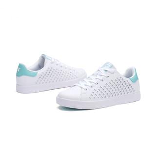 特步女子板鞋时尚潮流革面系带经典小白鞋982118319017白浅绿38码