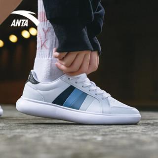 安踏 ANTA 91838005 92838005男女新款小白鞋休闲滑板鞋情侣板鞋 安踏白/岩石灰 8(女39)