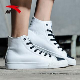 ANTA 安踏 92738920 女士高帮板鞋 (安踏白/黑、40)
