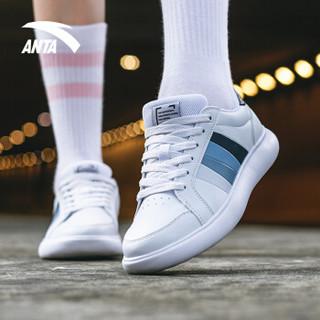 安踏 ANTA 91838005 92838005男女新款小白鞋休闲滑板鞋情侣板鞋 安踏白/岩石灰 5(女35.5)
