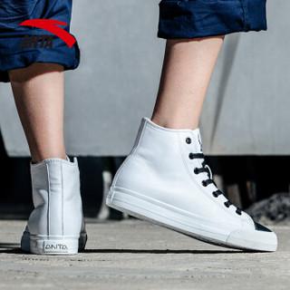 ANTA 安踏 92738920 女士高帮板鞋 (安踏白/黑、38.5)