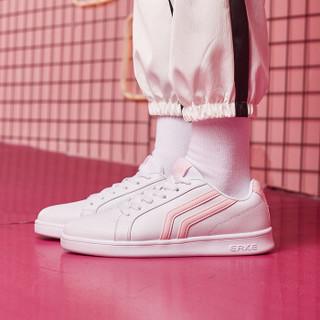 ERKE 鸿星尔克 52118301137 女士板鞋 (正白/粉红、37)