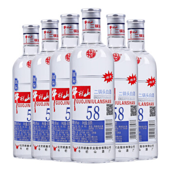 Niulanshan 牛栏山 二锅头 (箱装、清香型、58度、500ml*6瓶)