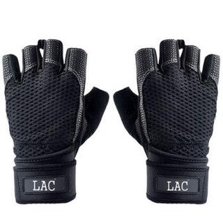LAC健身手套 器械训练 耐磨防滑 运动手套 骑行手套加长护腕 改进版 黑色L码