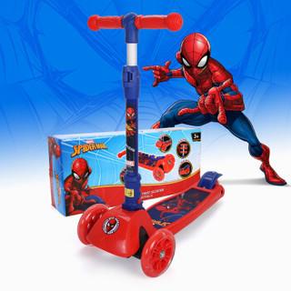 迪士尼漫威(MARVEL)儿童滑板车折叠升降四轮闪光加宽脚踏车摇摆车VCA71106-S 蜘蛛侠红蓝色