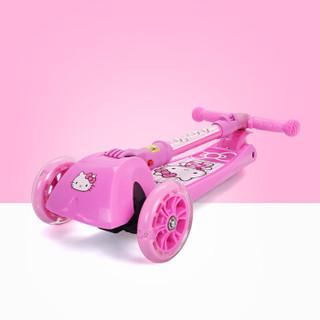 凯蒂猫(hellokitty)儿童滑板车四轮闪光摇摆车可折叠升降脚踏车HCA71106