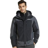 埃尔蒙特 ALPINT MOUNTAIN 冲锋衣 男款三合一户外服装防风衣保暖衣防寒两件套 640-624 黑色 XL