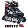 美洲狮(COUGAR)溜冰鞋儿童轮滑鞋男女可调旱冰鞋闪电套装MZS835L-12黑白色M码
