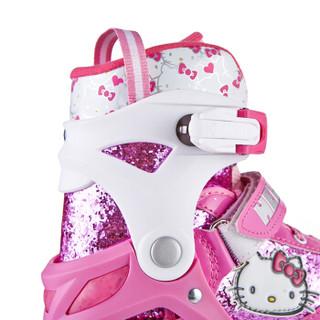 凯蒂猫(hellokitty)溜冰鞋儿童全套装轮滑鞋男女可调全闪光旱冰鞋滑冰S码(建议平时27-32码3-6岁)