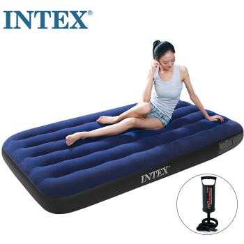 INTEX 蓝色植绒单人充气床垫 居家躺椅 户外防潮垫 露营帐篷气垫床【赠充气泵】68950