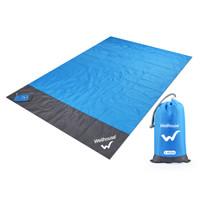 WELLHOUSE  户外野餐垫防潮地垫子沙滩垫薄款折叠轻便收纳带地钉 蓝灰色 1.4*2m