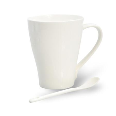 艾芳贝儿(AlfunBel)骨质瓷纯白咖啡杯碟 咖啡杯具 杯碟套装 礼品 商务招待 贝丽斯单杯(400ML)FKB-11-1