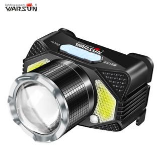 沃尔森 Warsun 头灯LED感应头灯强光充电超亮头戴式电筒3000米远射防水矿灯户外钓鱼