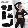 星加坊瑜伽服套装女修身显瘦健身服跑步运动服健身房运动套 KX-8036灰色五件套M码