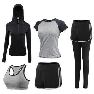 潮流假期 瑜伽服女套装春夏新款修身显瘦跑步健身服速干长裤短袖运动装女 YD20199-黑拼灰色-外套五件套-L