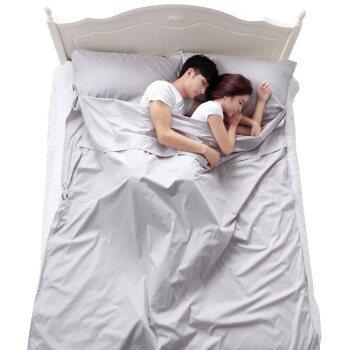 京东PLUS会员:JAJALIN 旅行酒店隔脏睡袋成人室内出差单人双人便携式薄旅游防脏床单 银灰色180*210cm *3件
