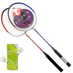 Enpex 乐士 羽毛球拍对拍2支羽拍双拍装休闲娱乐家庭实惠套装 S280 赠羽毛球(已穿线)